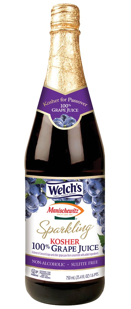 Welch's Manischewitz Sparkling Grape Juice, 25.4 oz. (Case of 12)