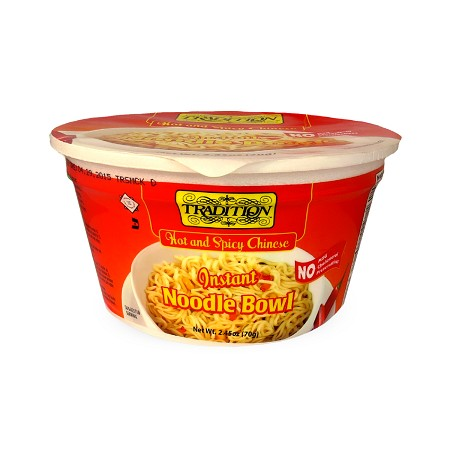 Tradition Hot and Spicy Chinese Instant Noodle Bowl, 2.45 oz. (Case of 12)