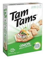 Manischewitz Onion Tam Tams Snack Crackers, 9.6 oz. (Case of 12)