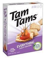 Manischewitz Everything Tam Tams Snack Crackers, 9.6 oz. (Case of 12)