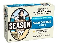 Season Salt Added Skinless & Boneless Sardines in Water 1/4 - Morocco, 3.75 oz. (Case of 12)