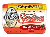 Season One Layer Salt Added Lightly Smoked Brisling Sardines In Tomato Sauce, 3.75 oz. - Scotland (Case of 12)