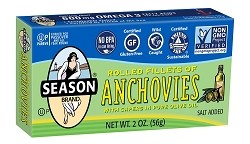 Season Salt Added Rolled Fillets of Anchovies with Capers in Pure Olive Oil, 2 oz. (Case of 12)