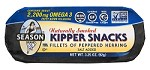 Season Naturally Smoked Peppered Kipper Snacks, Salt Added, 3.25 oz. (Case of 24)