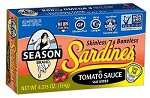 Season Club Salt Added Skinless & Boneless Sardines In Tomato Sauce, 4.375 oz. - Morocco (Case of 12)